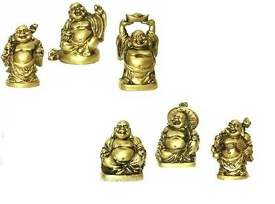 Set of 6 BRONZE/RED COLOR Feng Shui Laughing HAPPY Buddha Figures & Statue Luck