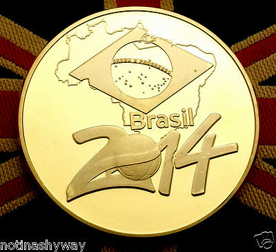 FIFA WORLD CUP 2014 Gold Coin Brazil Flag Country Goalkeeper Net Football Rio US
