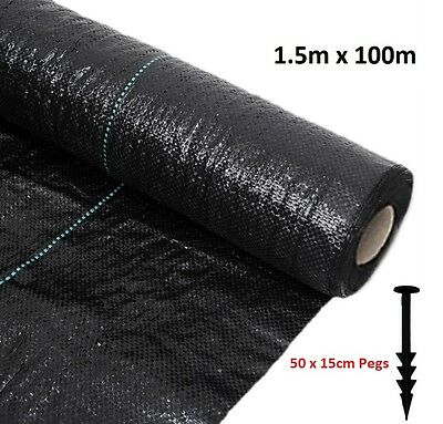 1.5M x100M Woven Heavy Duty Weed Control Fabric Ground Cover Mulch 100g +50 Pegs