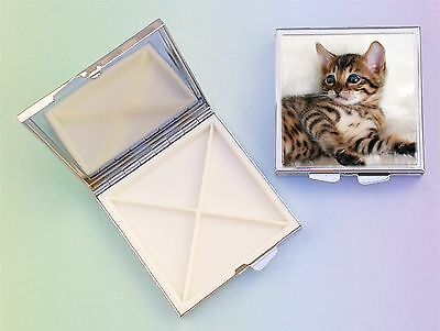 Bengal Cat 4 Compartment Square Metal Pill Box by paws2print
