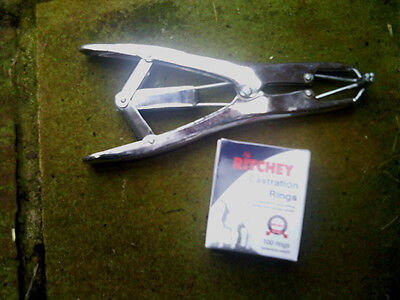 CASTRATION RING PLIERS / APPLICATOR plus 100 CASTRATING RINGS lamb tail docking