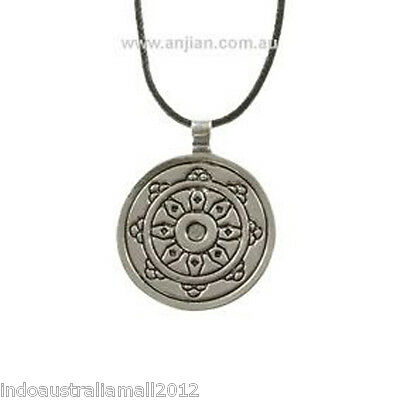6 x Buddhist  Wheel  of Dharma Silver Pewter Pendant on Black Cord  (OP068)