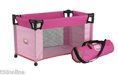 CHICA - Portable Travel Baby Doll Cot - Pink Kids Toy pretend play parent  New