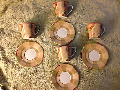 PTS International Interiors Stoneware South Beach - 4 cups & 4 saucers
