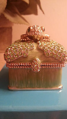 Gorgeous Green Enamel And Gold Swarovski Frog Hinged Trinket Box Collectible