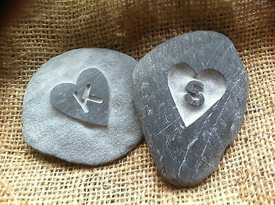Hand carved LOVE Pebble, Personalised with initial perfect wedding, love gift!
