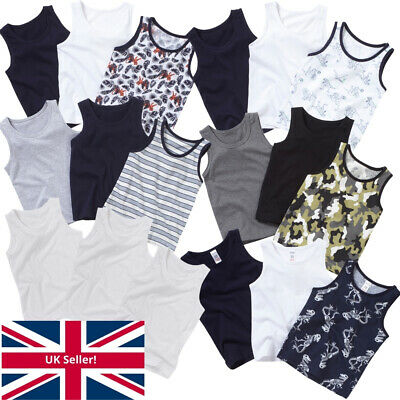 Younger Boys Just Essentials 3 Pack Cotton Vests Back To School White 2-10 yrs