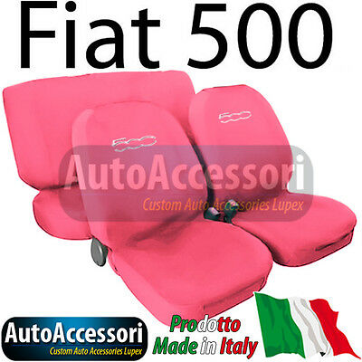 fiat 500 einfarbige sitzbez ge schonbezug mit logo rosa. Black Bedroom Furniture Sets. Home Design Ideas