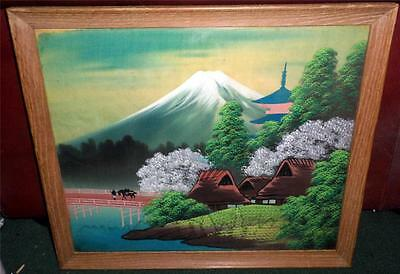 """Vintage Chinese Silk Landscape Painting in 15 1/2 X 18"""" Wooden Frame LOOK SP"""