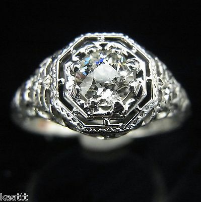 Art Deco Old European Cut Diamond 18k White Gold Ring Engagement Vintage Antique