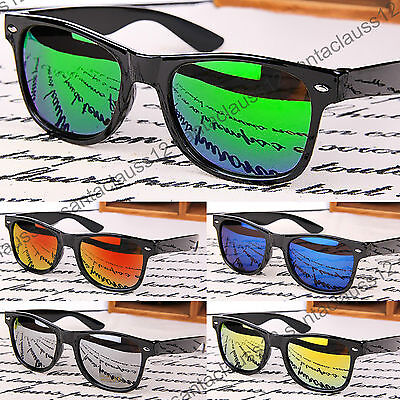 Sunglasses Black Glossy Rectangular Frame Vintage Retro Mens Womens UV400