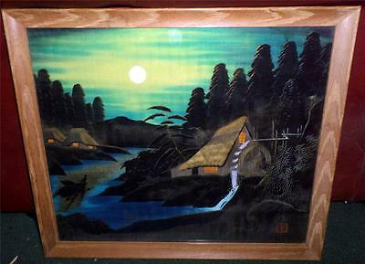 """Vintage Chinese Silk Landscape Mill Painting in 15 1/2X 18"""" Wood Frame Signed SP"""