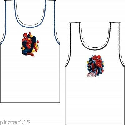 Boys Spiderman  2 Pack Vests 100% Cotton Ages 2-3 3-4 5-6 7-8  NEW 2015