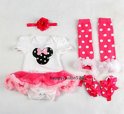 Infant Baby Girl Newborn Headband+Romper+Leg Warmer+Shoes Outfit Clothes 3-6 M