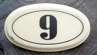 Vintage French Enamel Steel House Number 9 Plaque Metal Sign ~ Wine Cellar Bins