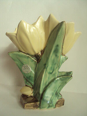 """Vintage McCoy Tulip Style Vase. 8 1/2"""" Tall. With Original Sticker. Look!"""