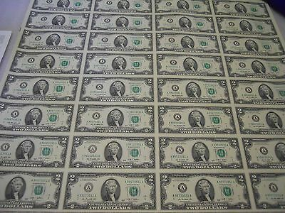Uncut Sheet of 32 (8x4) Two Dollar Bills ($2 Notes) Boston (A) 2009. US Currency