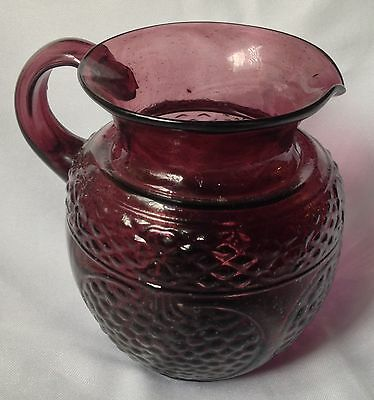purple blown glass pomegranate jug pitcher 5 inch tall