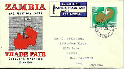 29/6/1968 Zambia First Day Cover FDC - Trade Fair Official Opening