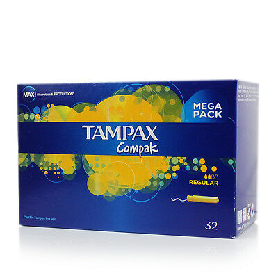 New Tampax Compak Regular Applicator Tampons 32