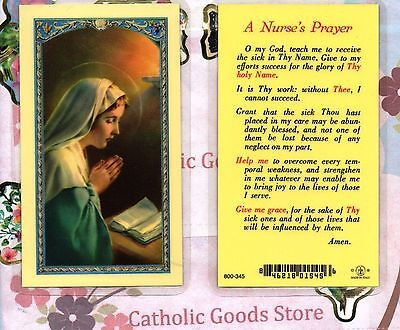 Our Lady with A Nurse's Prayer - Laminated Holy Card
