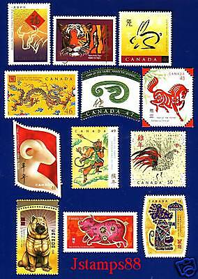 Canada 1997-2008 Year of the Ox - Rat Complete Set MNH  !