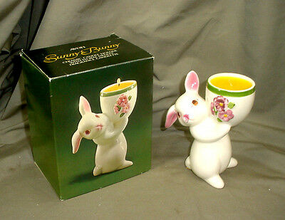 NIB Avon Sunny Bunny Ceramic Candle Holder & Fragrance Candlette