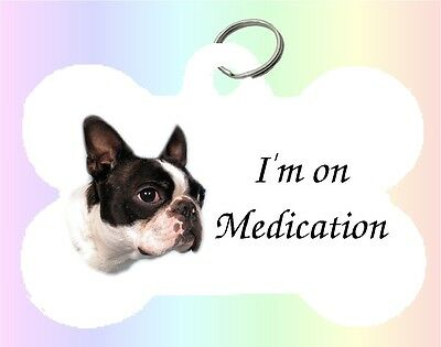 Boston Terrier Dog Puppy Dble Sided Personalised Pet ID Tag - M by paws2print