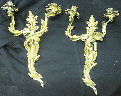 Pair of Antique Bronze Louis XV  Wall Sconces Candle Holders 17""