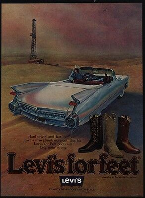 1978 LEVI'S Cowboy Boots - LEVI'S For Feet - Oil Well - Cadillac - VINTAGE AD