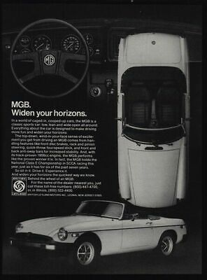 1978 MGB Convertible Sports Car - 1800 cc Engine Widen Your Horizons  VINTAGE AD