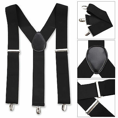 GENTS MENS 50mm WIDE ADJUSTABLE BRACES SUSPENDERS ELASTIC PLAIN COLOURS CLASSIC