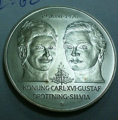1976 Sweden 50 kroner Royal Wedding unc. .925 silver