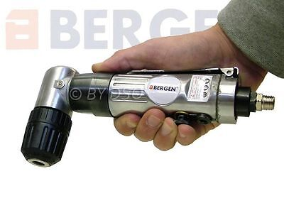 "BERGEN 3/8"" 90° Right Angle Air Drill Tool Keyless Chuck Pneumatic Drilling Tool"