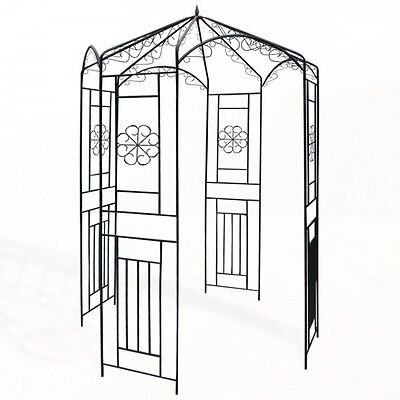 stabiler gartenpavillon metall schwarz pavillon eisen rosenspalier pergola. Black Bedroom Furniture Sets. Home Design Ideas