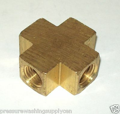 """Brass Pipe Fitting 4 Way Equal Female Cross Connector Coupling 1/4"""" NPT"""