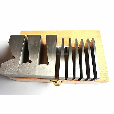 HFS 9pcs UNIVERSAL ANGLE BLOCK BLOCKS SET V-BLOCK HARDENED Degree: 0.5 - 30