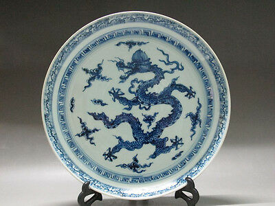 China Blue and white Porcelain old big plate Hand Painted Dragon Cloud old plate
