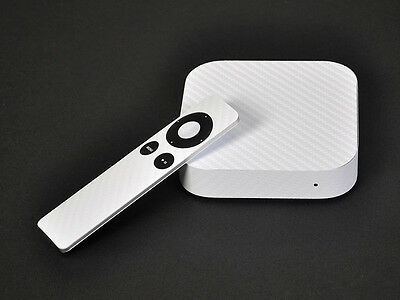 White Carbon Fiber Skin Sticker Cover Protector Decal For Apple TV 3rd HD 1080p