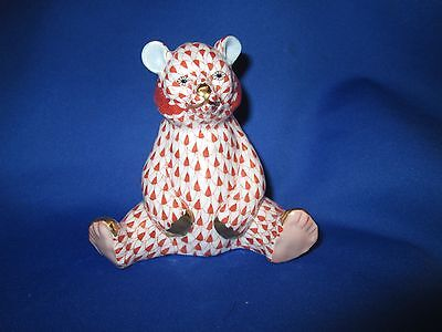 HEREND, BABY BEAR SITTING PORCELAIN FIGURINE,  Rusty FISHNET