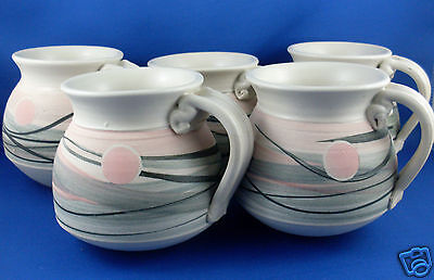 RARE Signed RH ROWE'S HILL POTTERY (Ian Rowe) Unique POTTERY MUGS SET VG - Aust