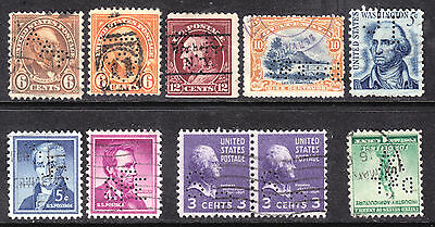 EARLY US PERFIN LOT/10, VG-VF, USED WITH ASSORTED CANCELS