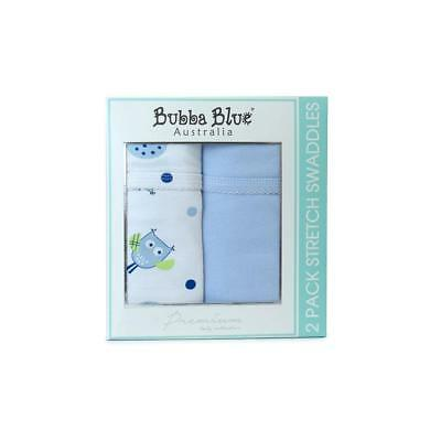 Bubba Blue Embroidered Baby Owl Boy Stretch Swaddling Jersey Wrap - Twin Pack