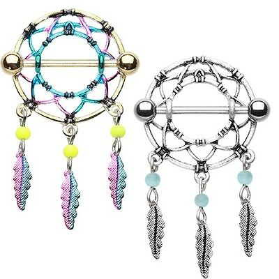 Dreamcatcher Nipple Ring Barbell Blue Pink Gold Silver Feather Body Jewelry Sexy