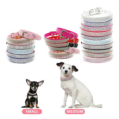 Dog Cat Pets Multi Colour Safety Collar Diamante Rhinestone Crystal Leather Band
