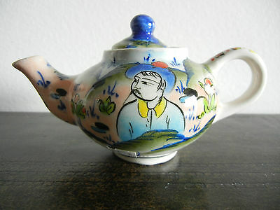 Vintage Kutahya Turkey Handmade Signed Miniature Teapot Hand Painted Ceramic
