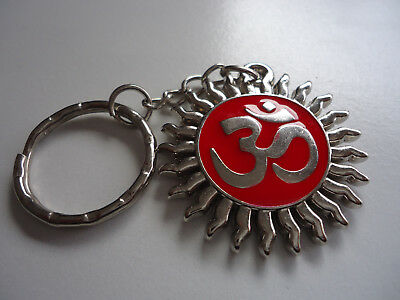 1 x  Hindu OM OHM AUM in Sun Silver with Red Enamel Pendant Key Ring(S063-01)