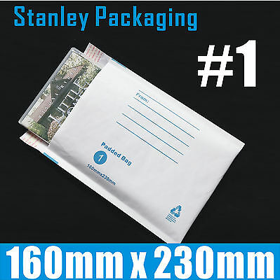 200x Bubble Envelope 160x230mm #01 Padded Bag Mailer SIZE 01 - White Printed