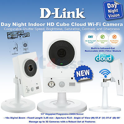 NEW D-Link DCS-2132L/E Day Night Indoor HD Cube Cloud Wi-Fi Camera NEW 720P
