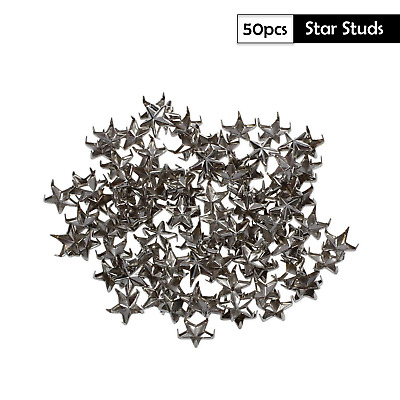 Black Gun Metal Rock Star Shaped Stars Punk Studs Rivets Leathercraft in 10mm